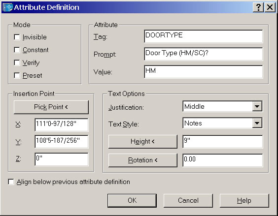 Attribute Definition Dialogue Box