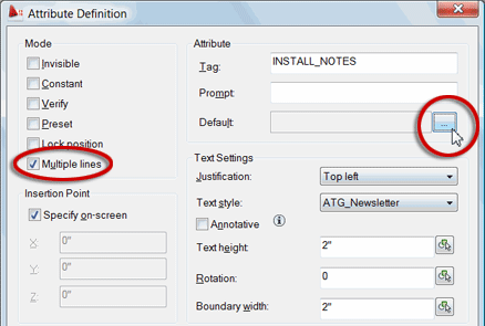 Attribute Definition dialog box