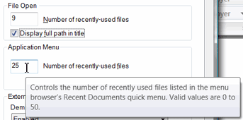 Number of recently-used files