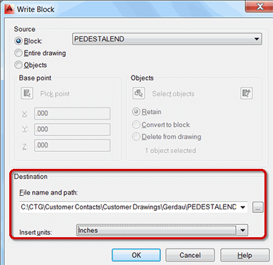 Write Block dialog box