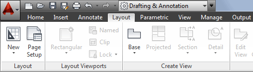 The Layout tab in AutoCAD 2014