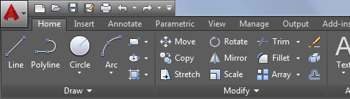 The Ribbon in AutoCAD 2015