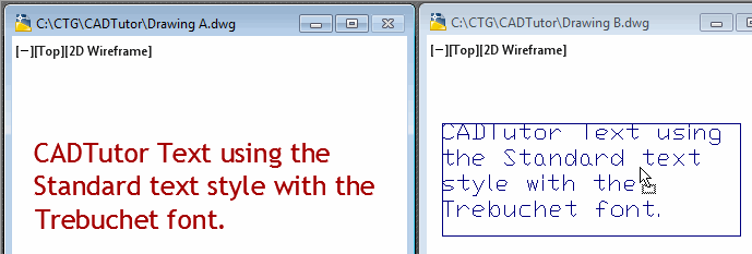 Copying text from one drawing to another