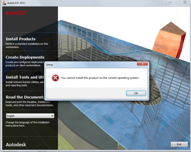 Unable to install autocad 2011 on windows 7 - Software & Licensing