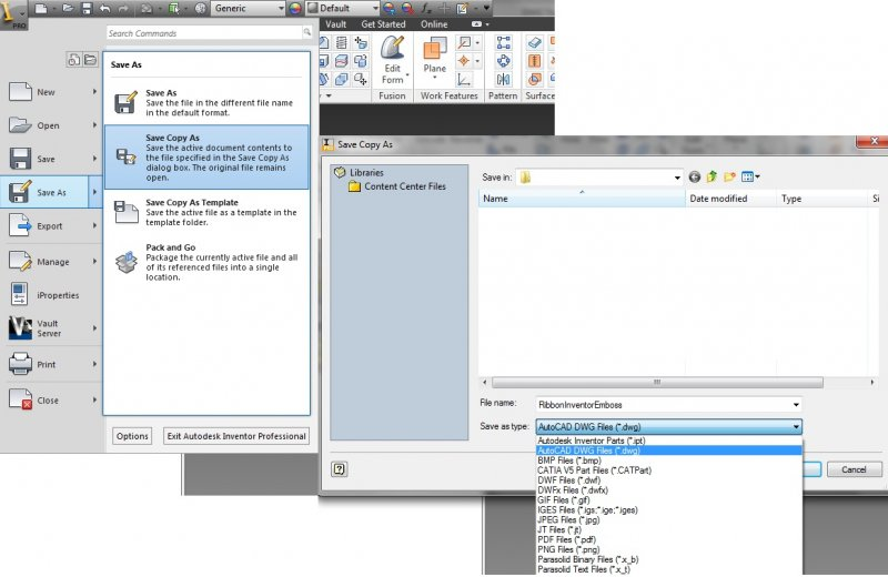 How open the file of Inventor Professional 2013 in CAD 2012