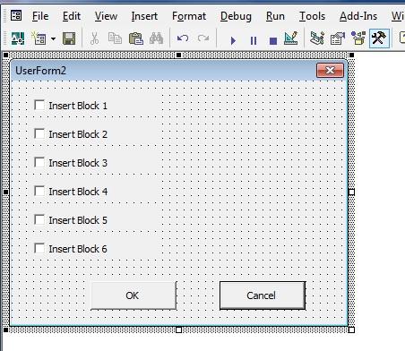 Inserting blocks via VBA Buttons/ check boxes -  NET