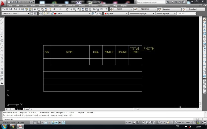 Steel reinforcement bars quantity survey lisp to table