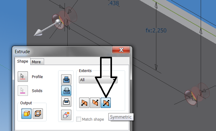 Can not extrude holes on pump base (Inventor 2010
