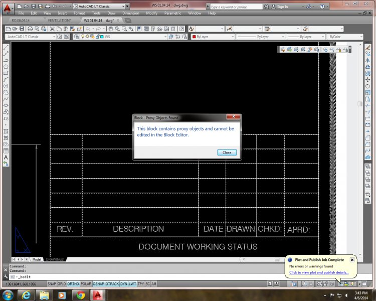 autocad proxy graphics warning