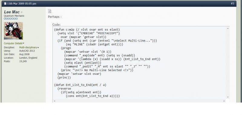 Lisp to convert a MLINE to a single PLINE - AutoLISP, Visual