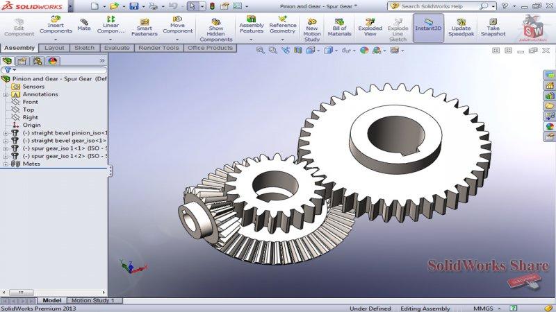 Assemble Straight Bevel - Spur Gear SoldidWorks Tutorial