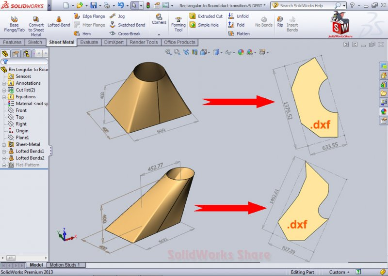 Caculate the flat form for Rectangular to Round duct transition-SolidWorks Share-SolidWorks Tuto.jpg