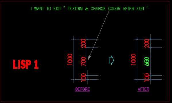 Lisp Edit text dim & change color text dim  - AutoLISP
